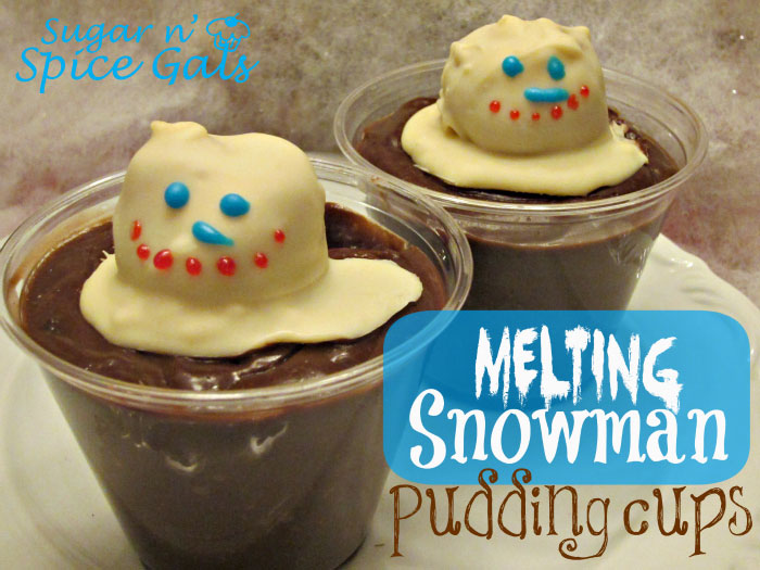 snowman cake ball pudding cups
