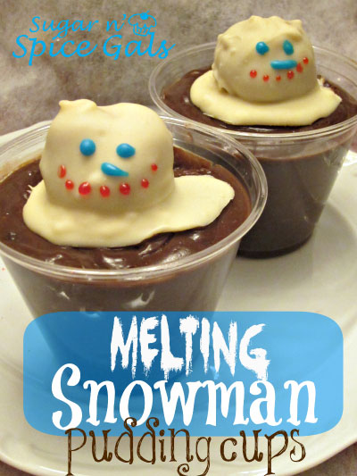 snowman pudding cups dessert