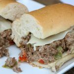 Pepper Jack and Cream Cheesesteak Sandwiches (with hamburger)